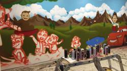 Kids playroom mural art sketch