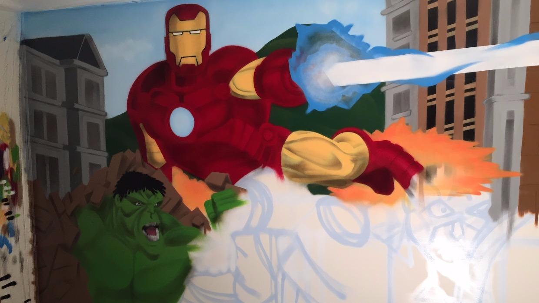 Ironman and Hulk mural art