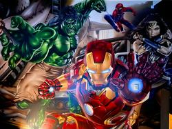 Avengers home cinema Graffiti Art Mural