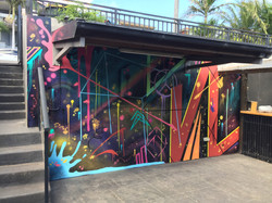 Abstract mural art painted in home