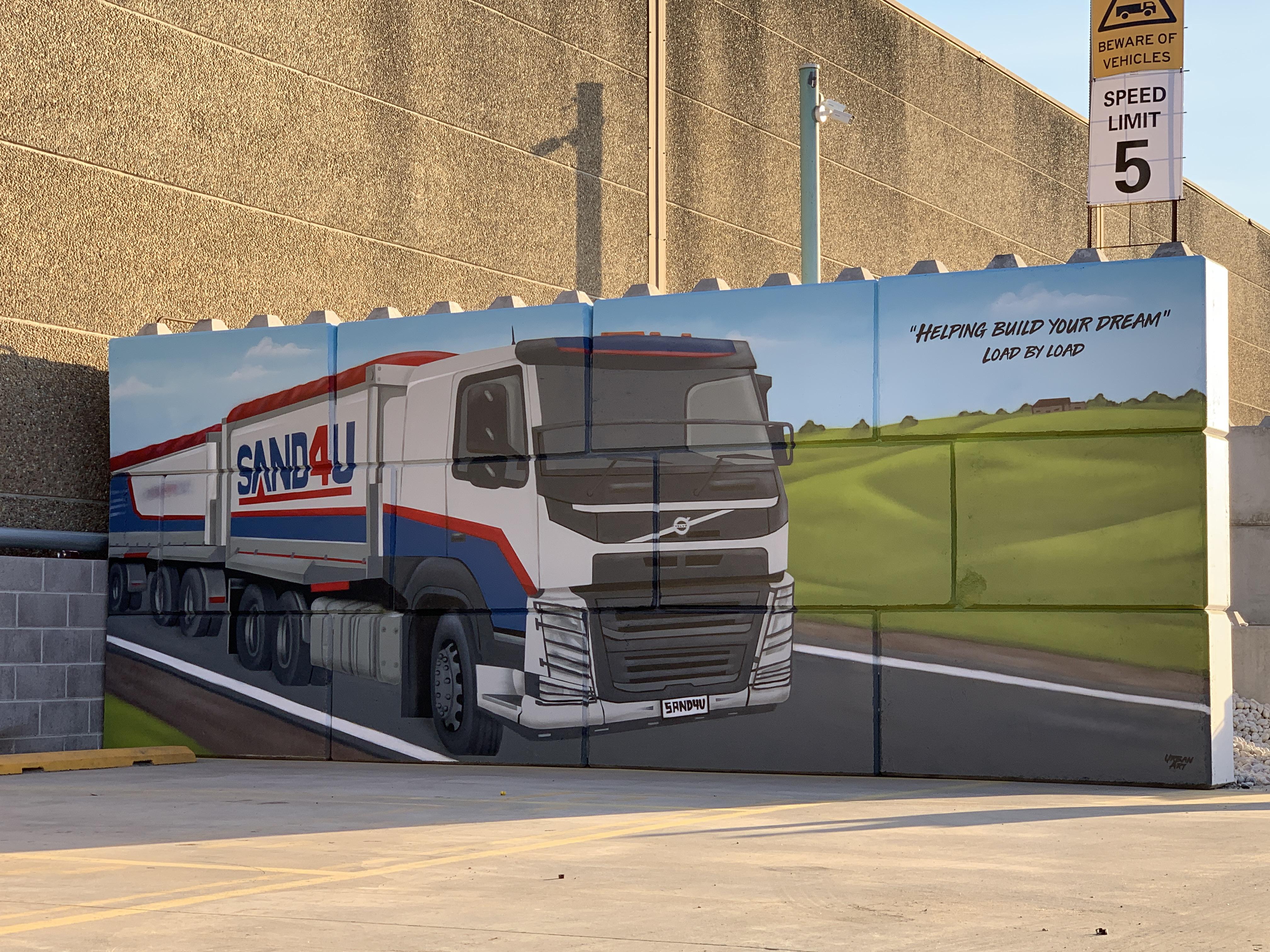 Transport truck realistic graffiti art m