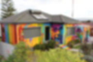 Residential mural art on a home