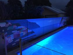 Neon like poolside mural project Urban Art