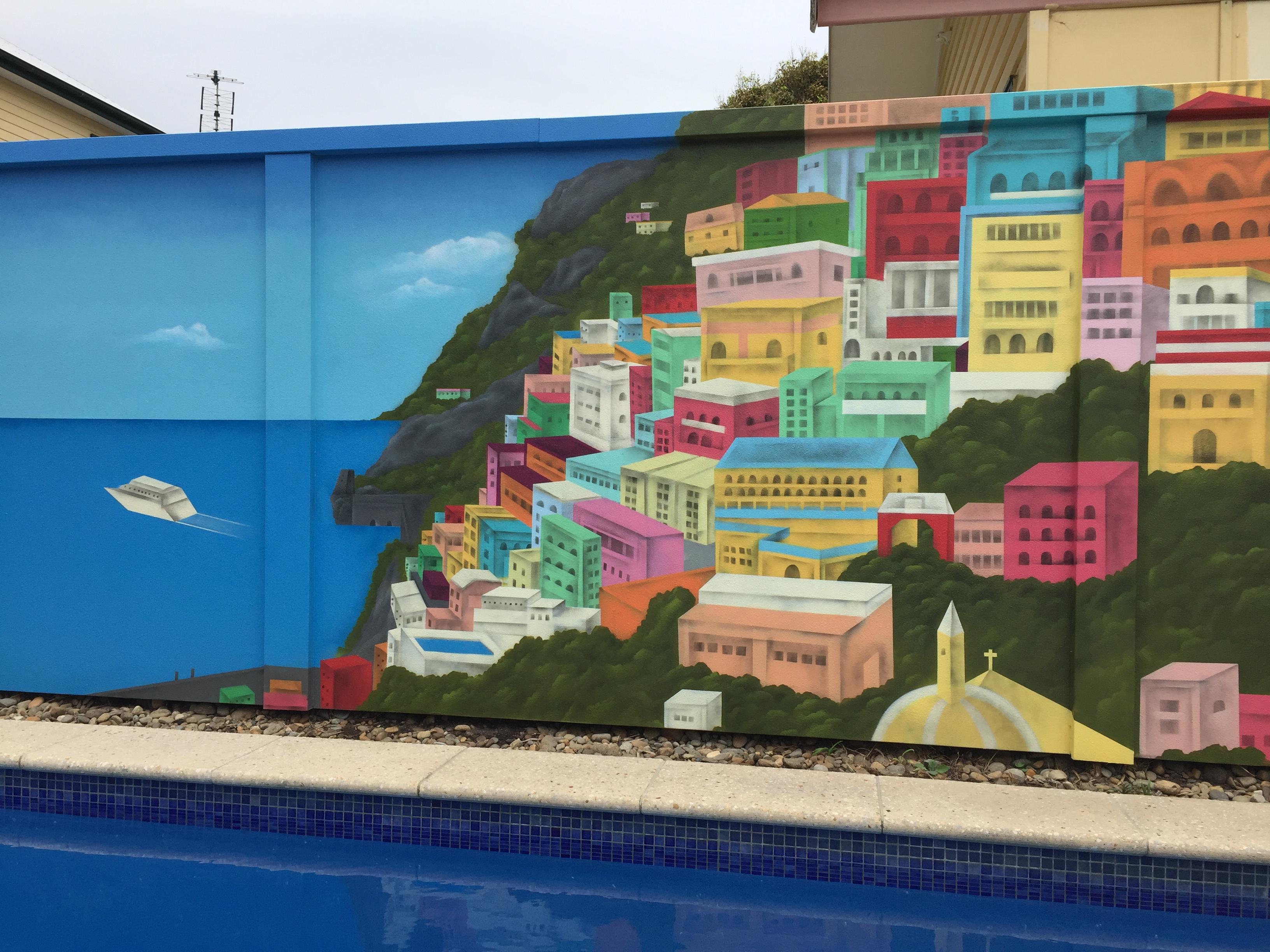 Street Art Landscape mural project  Italian painted