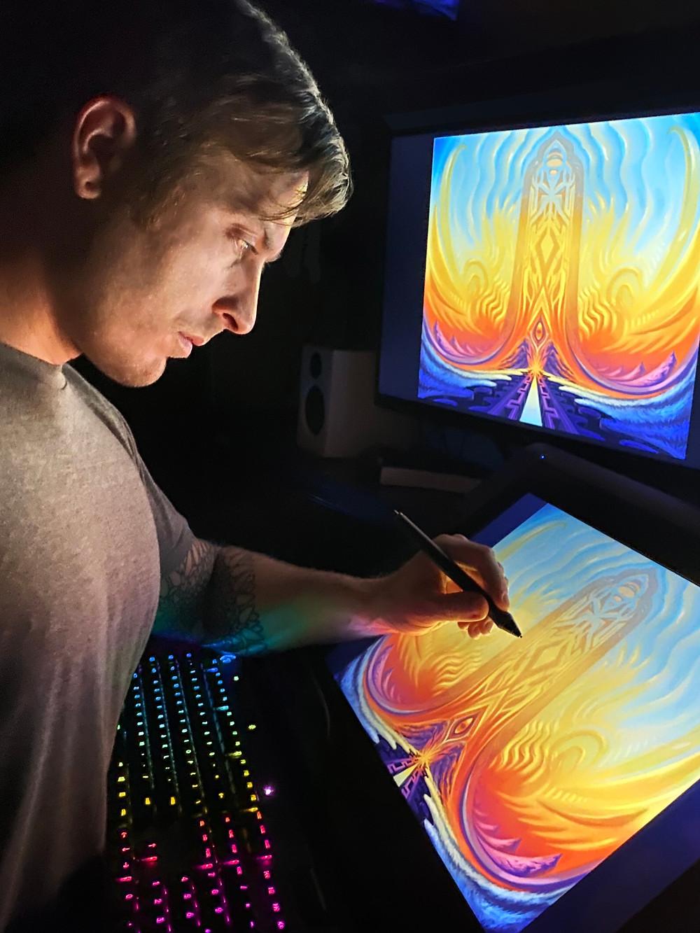 Trent Kuhn working in studio