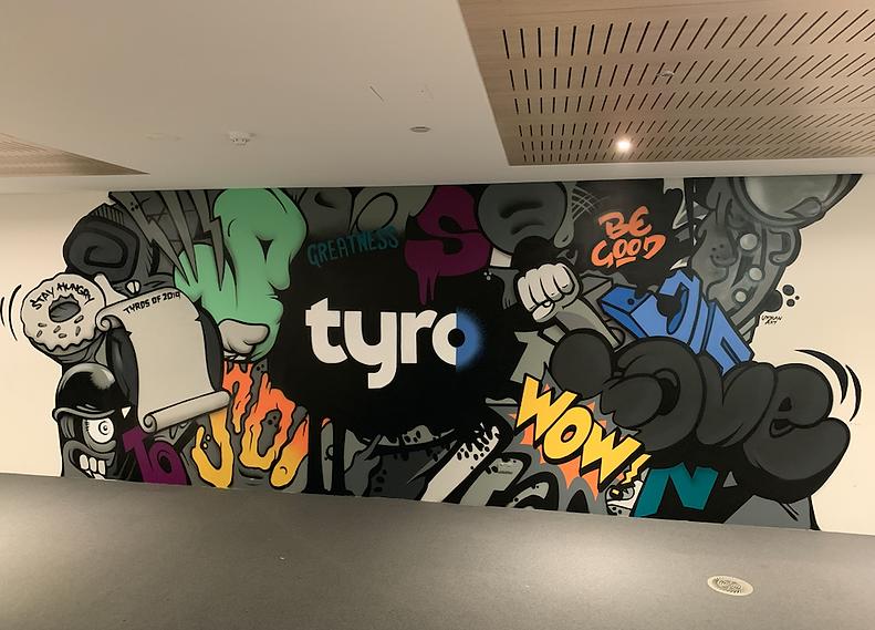 Corporate graffiti art mural in Sydney.p