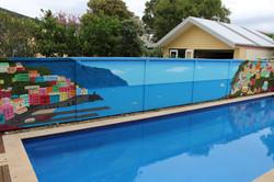 beautiful poolside mural of Italian landscape