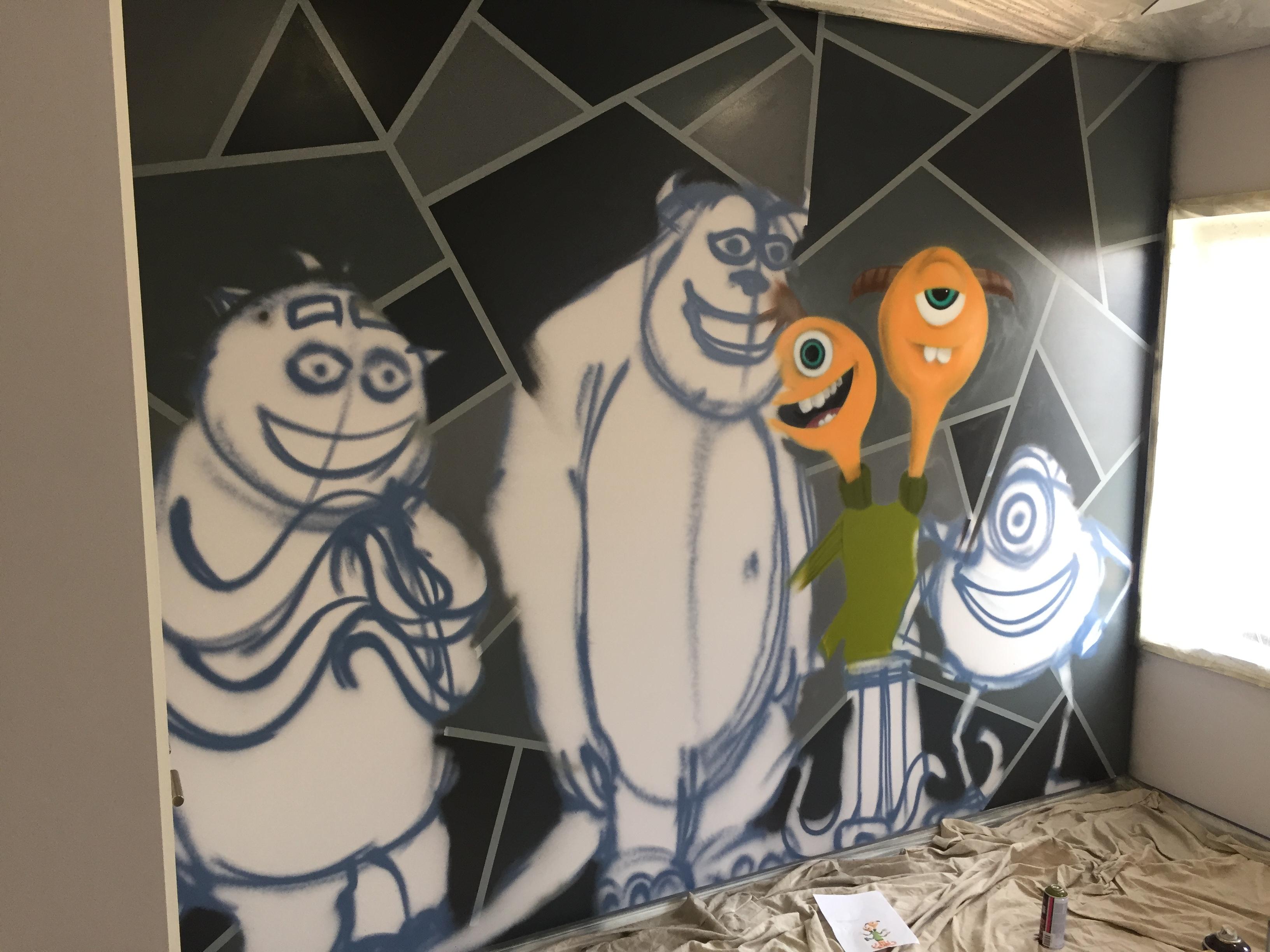 monsters inc kids bedroom mural