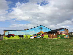 massive mural on farm shed