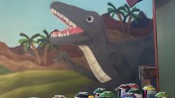 Raptor dinosaur mural artwork