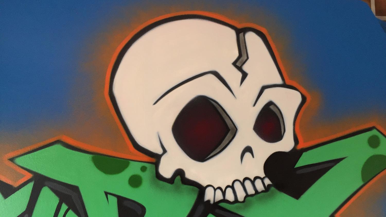 kids bedroom graffiti skull