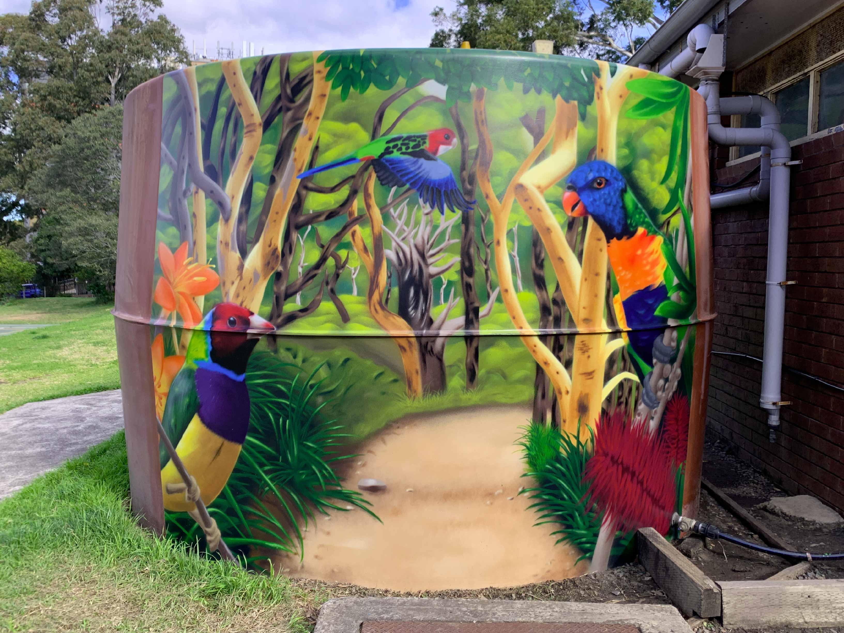 Water Tank Street Art Mural Australian birds