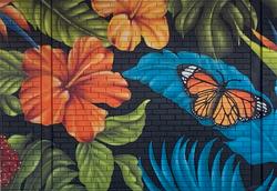 Tropical floral street art mural by urban art