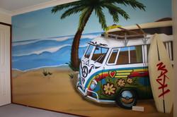 beach Kombi Van street art mural
