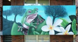Frog graffiti mural at school-01