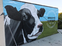 realistic wall art mural of animal cow