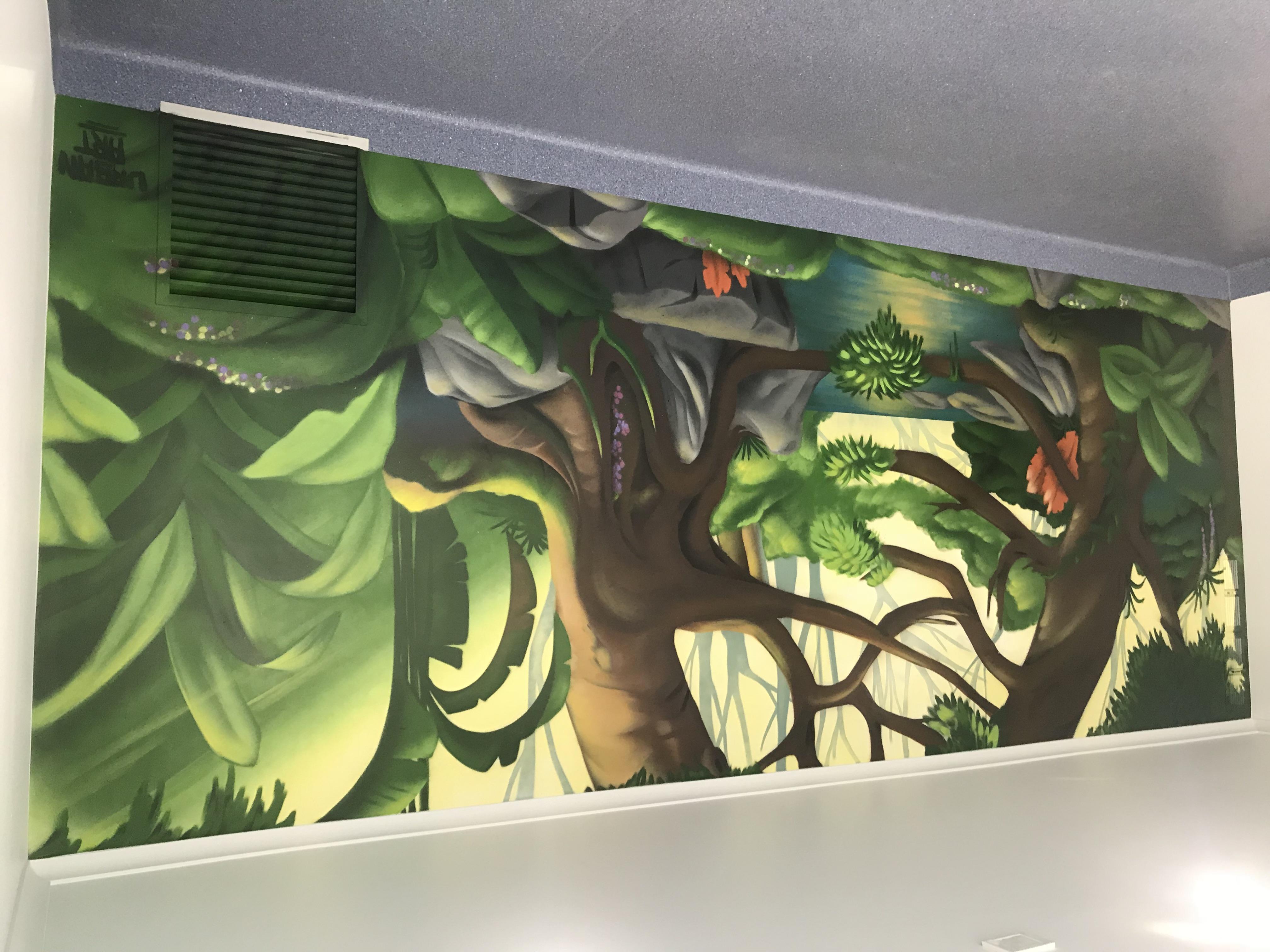 Pet landscape mural painted at vet