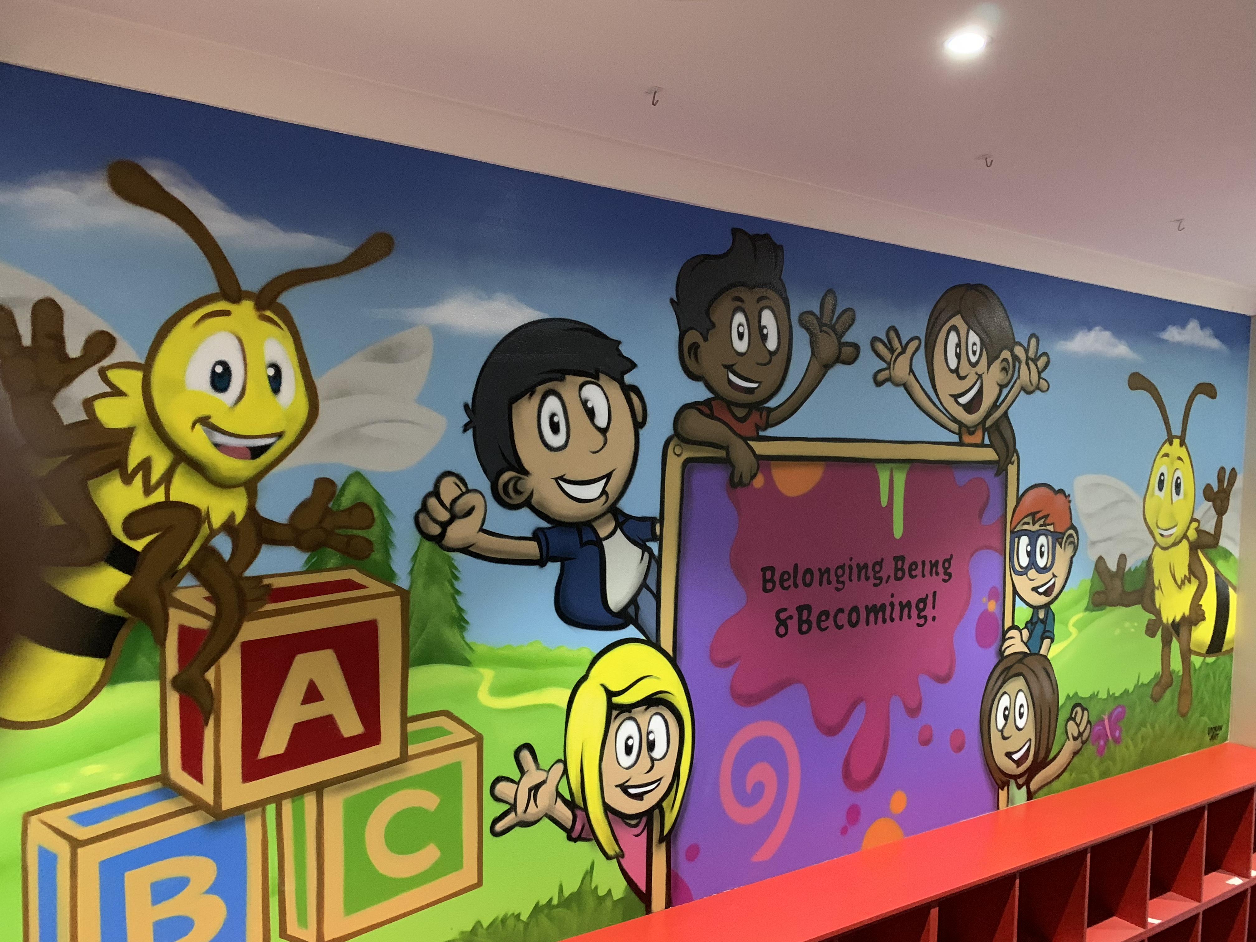 Cartoon kids Landscape   Mural Art