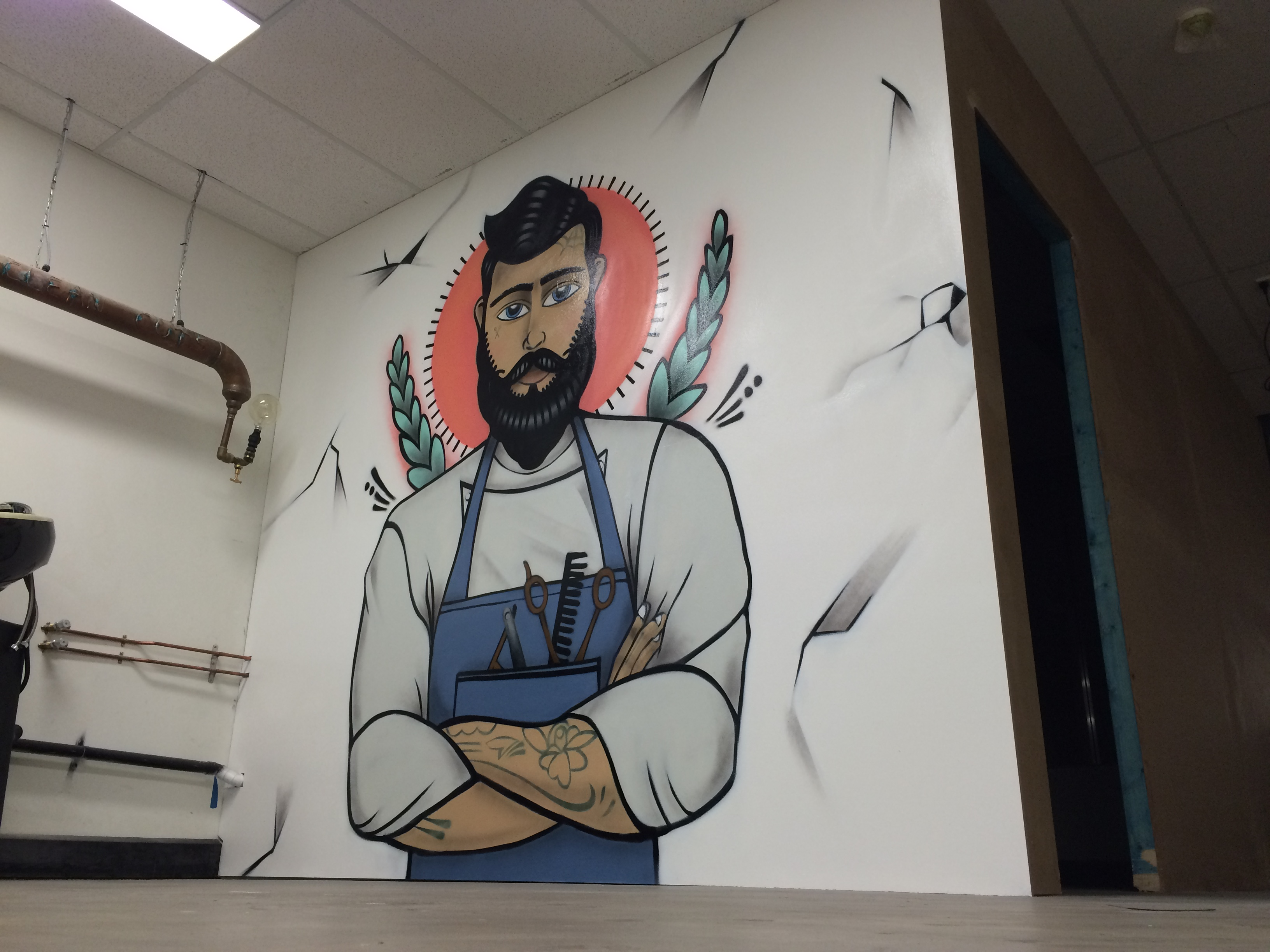 Wollongong mural in barber shop