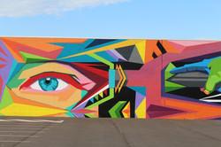 Street art Mural by Ayjay close up