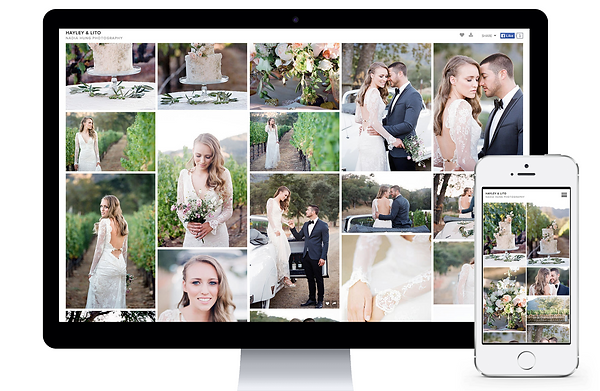 Wedding photo gallery on screen and mobile