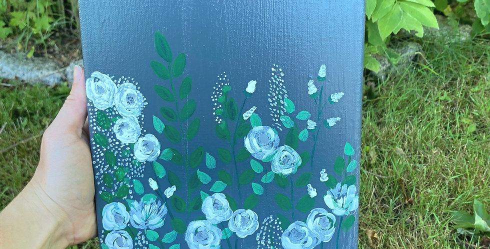 Grey Floral Canvas