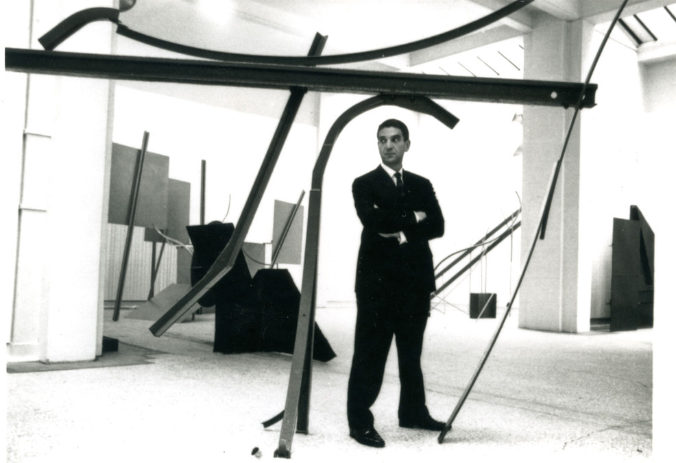 Anthony Caro at his solo exhibition at the Whitechapel Gallery, 1963