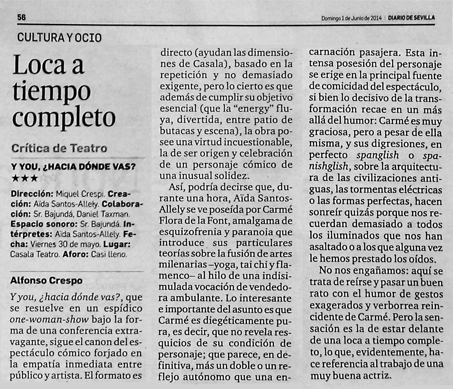 Crítica de teatro Dirario de Sevilla