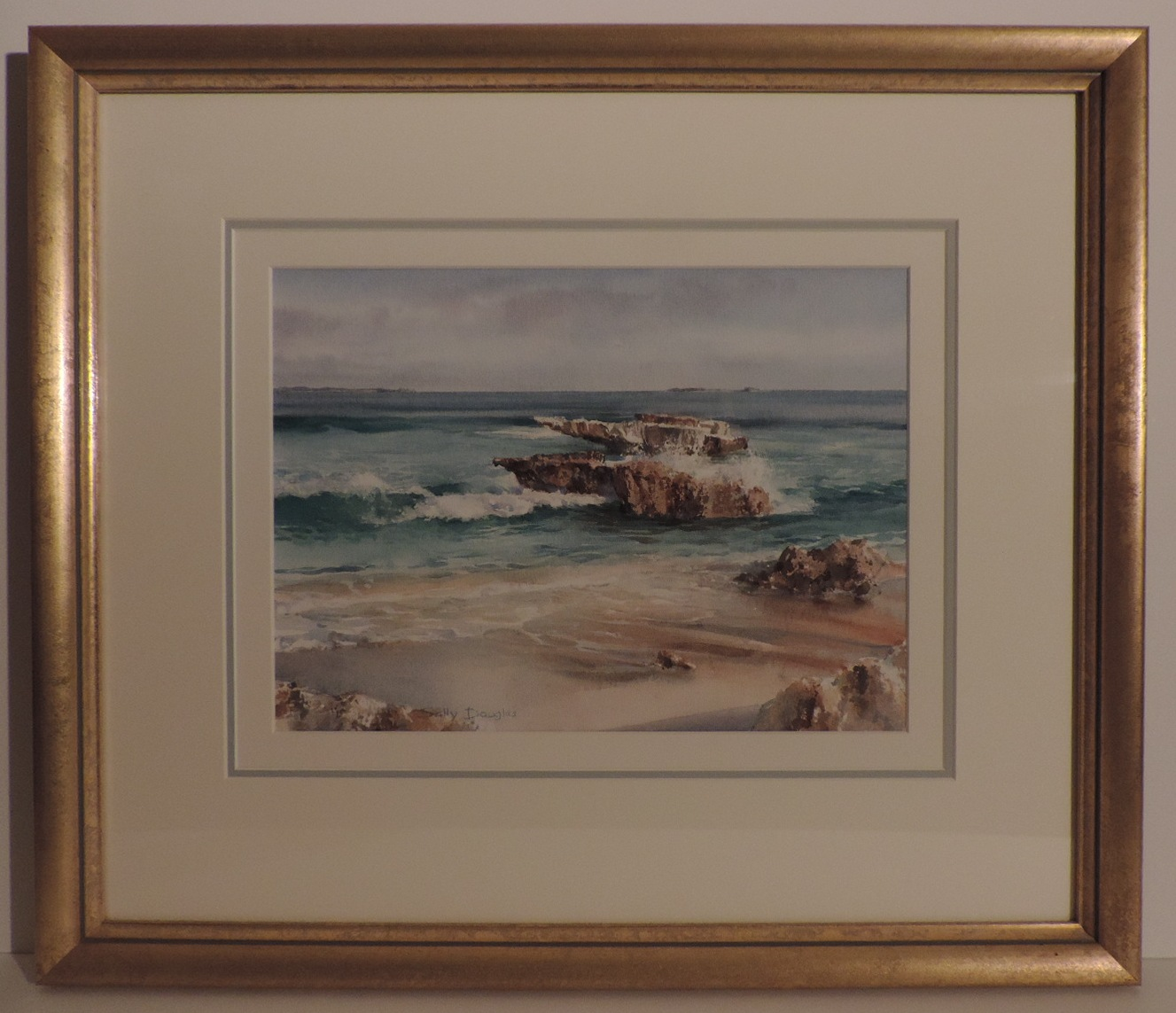 Framed Watercolour_Trigg_Beach_Triple Mounted