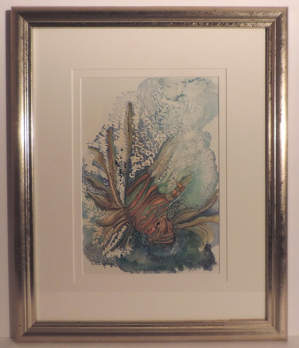 Framed Watercolour_Fish_Double Mounted