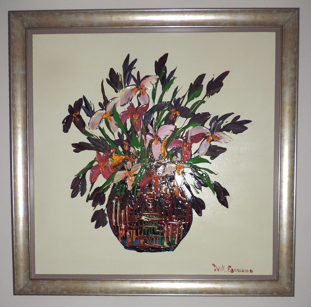 Framed_Oil_Painting_Vase_Of _Flowers