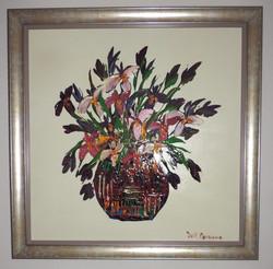 Framed_Oil_Painting_Vase_Of _Flowers