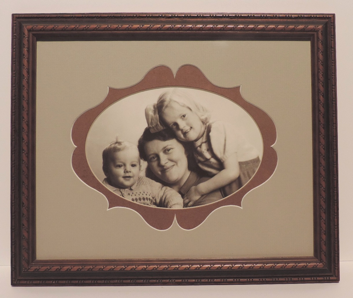 Framed_and_Restored_Sepia Photo_Mum_and_Kids