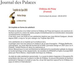 journal des palaces 2010 prix Design SPA Pizay.jpg