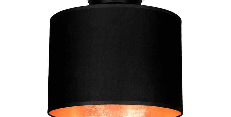Lámpara de Techo con Pantalla de Tela de Diseño Mika S 1_CP Negra/Cobre