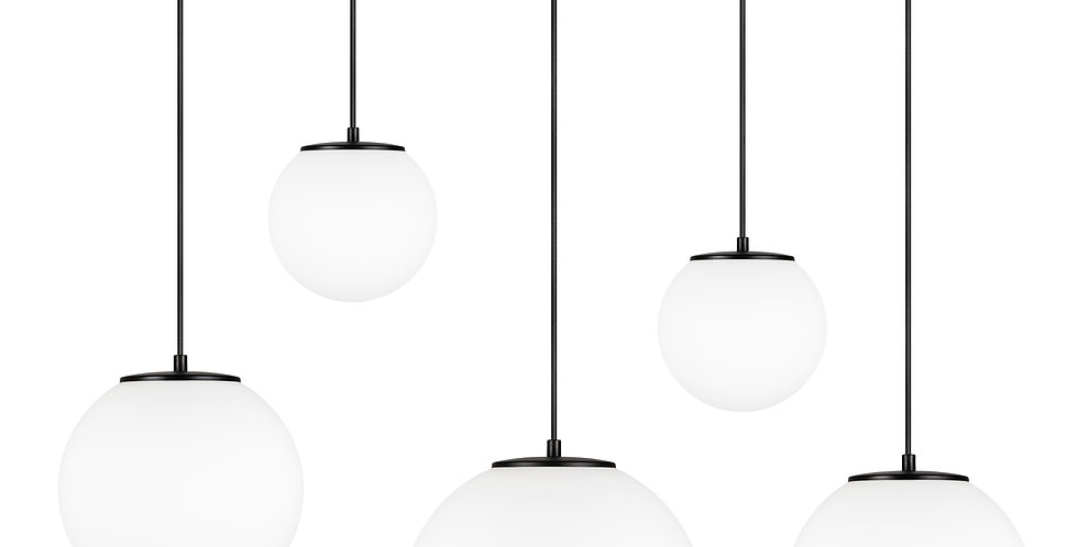 Lámpara colgante quíntuple, blanco mate Tsuki MIX L,M,M,S,S 5_S Negro