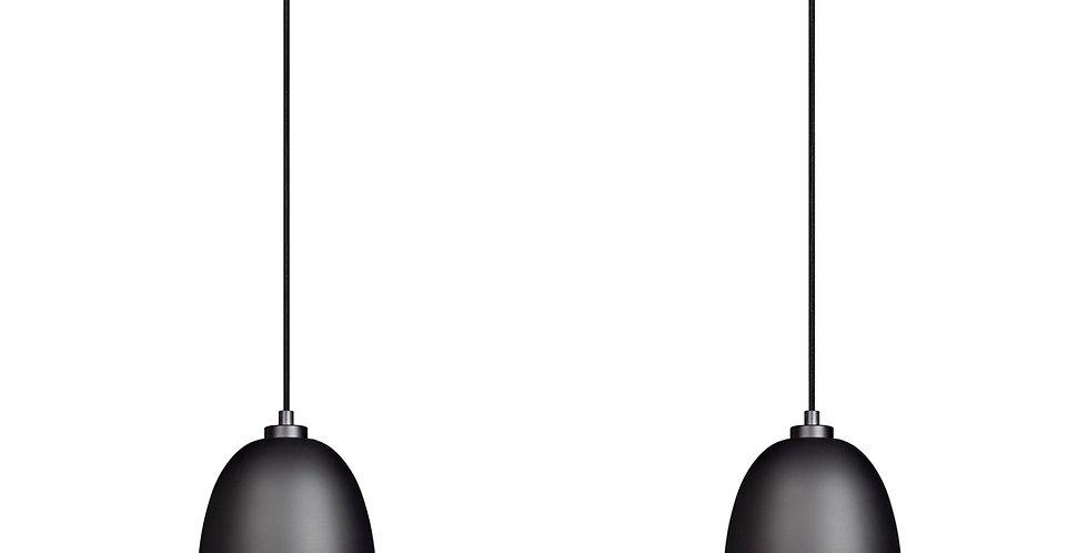 Lámpara colgante doble AWA 2 / S,  Pantalla negro mate/oro  cable negro