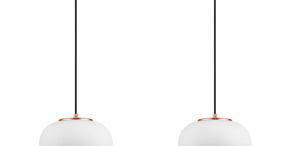 DOSEI 2/S Colgante de 2 Luces Pantalla de Vidrio Opalino soporte de pan de cobre