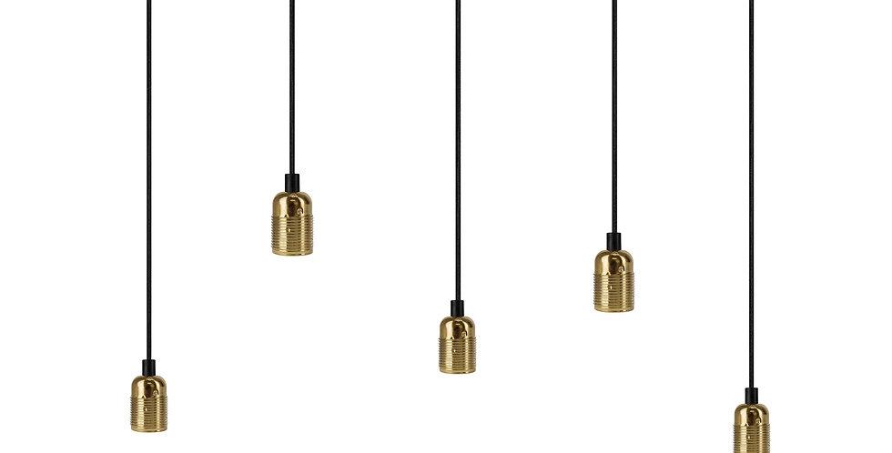 Lámpara colgante quíntuple Uno 5_S Negro/Oro