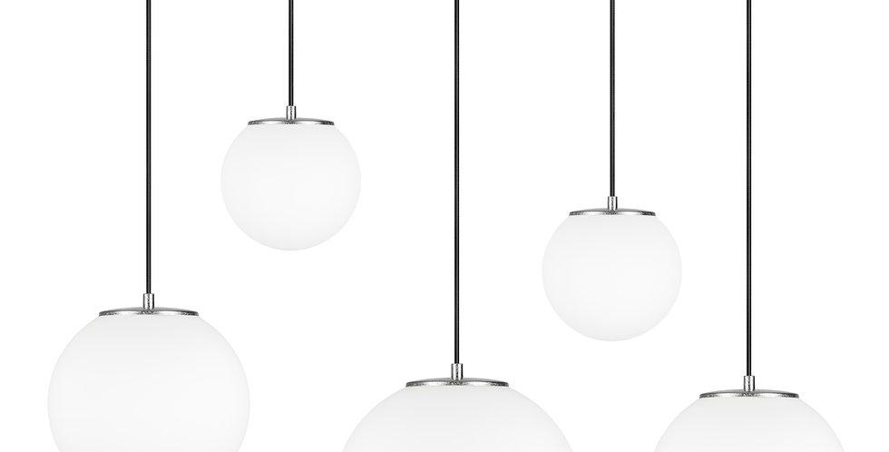 Lámpara colgante quíntuple, blanco mate Tsuki MIX L,M,M,S,S 5_S Plata