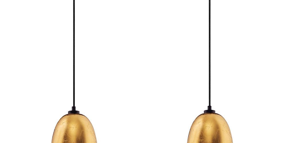 Lámpara colgante doble AWA 2 / S,  cable negro y pantalla de pan de oro