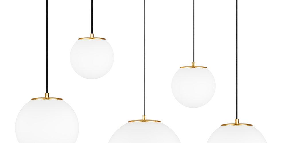Lámpara colgante quíntuple, blanco mate Tsuki MIX L,M,M,S,S 5_S Oro