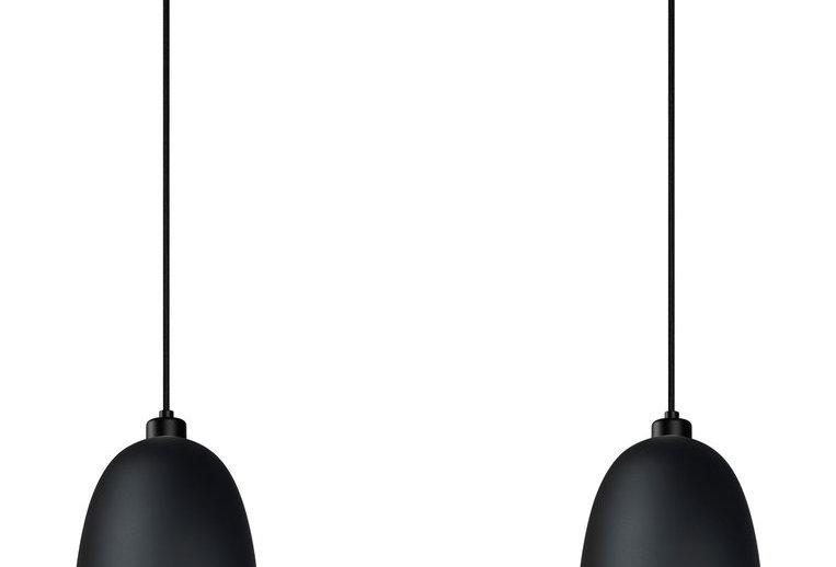 Lámpara colgante doble AWA 2/S, florón negro, cable negro y pantalla negro mate