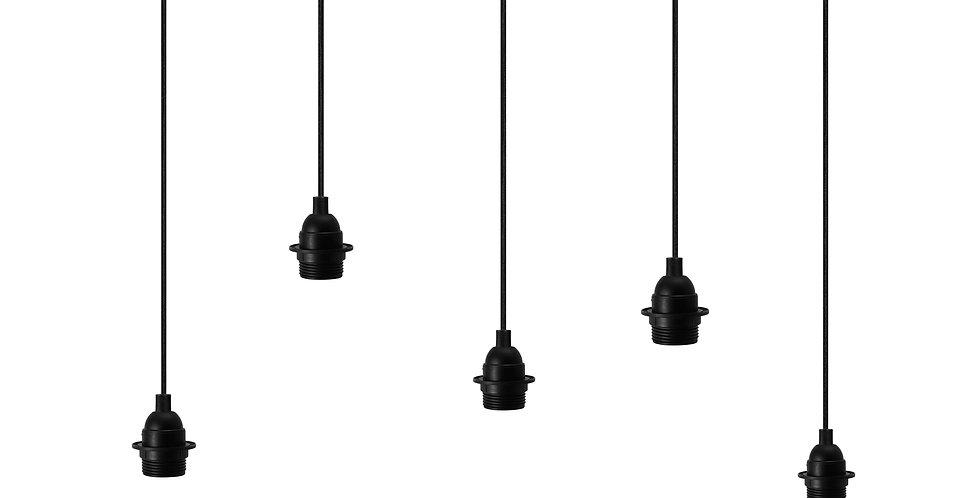 Lámpara colgante quíntuple Uno Plus 5_S Negro