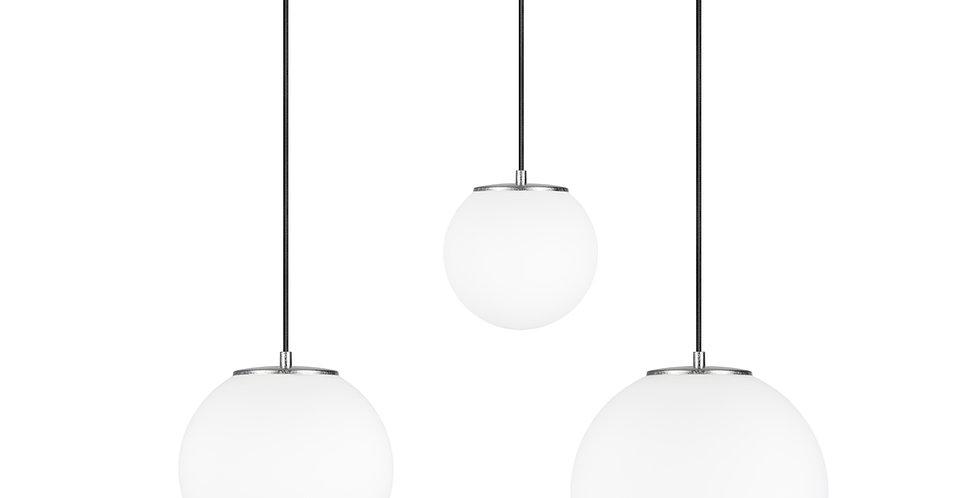 Lámpara colgante triple, blanco mate TSUKI MIX  L, M, S 3 / S Plata