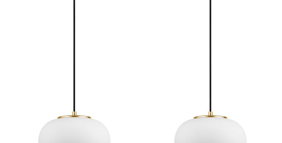 DOSEI 2/S Colgante de 2 Luces Pantalla de Vidrio Opalino soporte de pan de oro