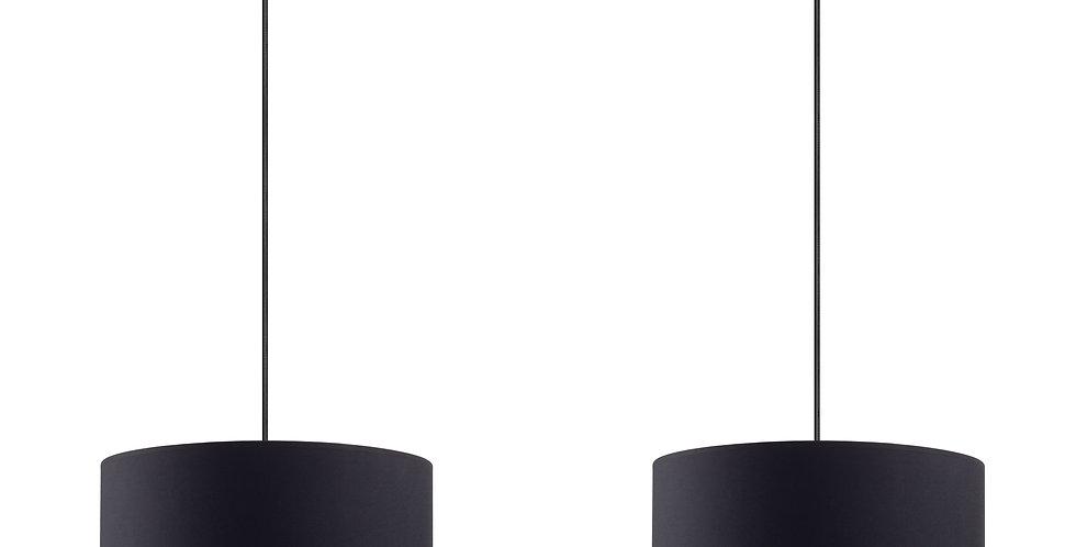 Lámpara de Techo colgante con Pantalla de Tela de Diseño Mika M 2_S Negra/Cobre