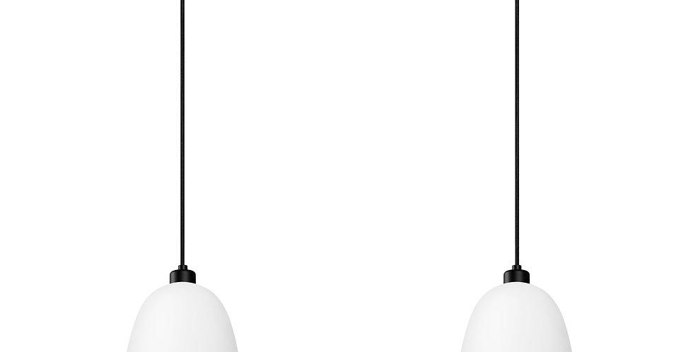 Lámpara colgante doble AWA 2 / S, florón negro, cable negro y pantalla blanca