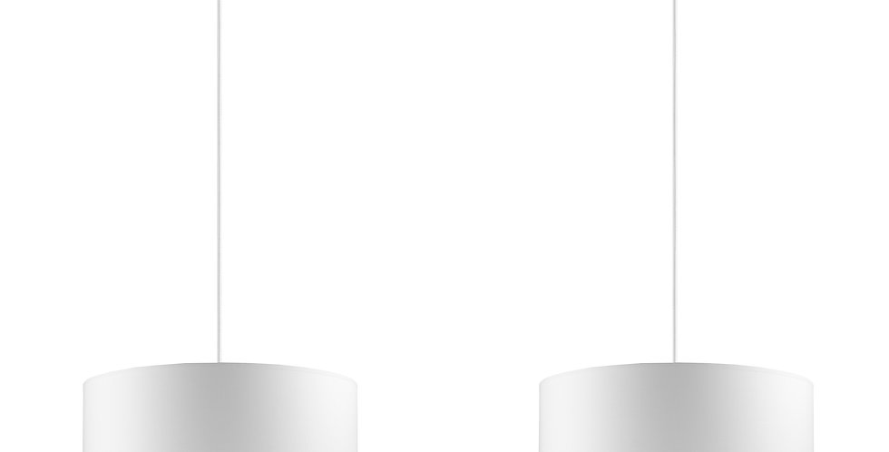 Lámpara de Techo colgante con Pantalla de Tela de Diseño Mika M 2_S Blanca/Plata