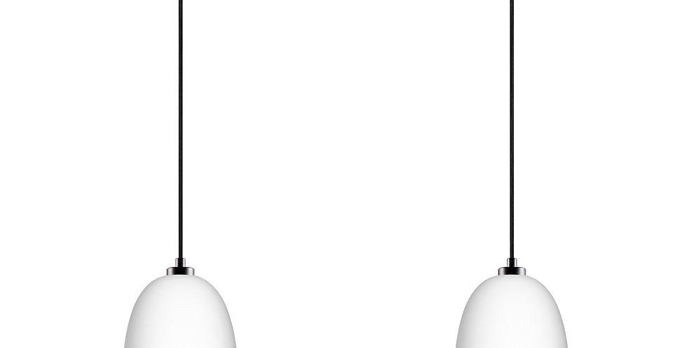 Lámpara colgante doble AWA 2/S, florón negro, cable negro, pantalla blanca/cobre